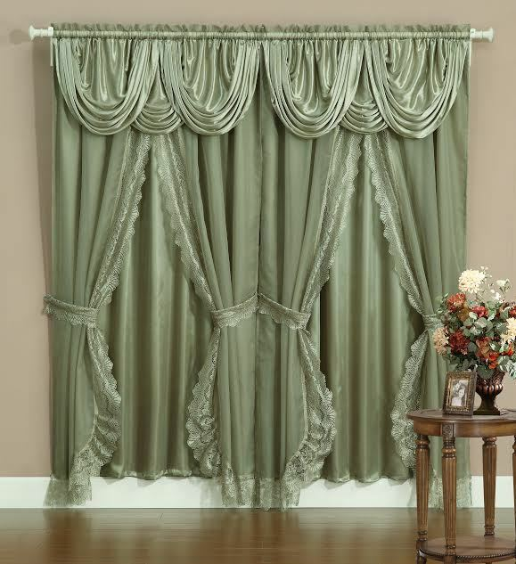 Sheer Amp Lace Victorian Window Curtain Set W Satin Valance