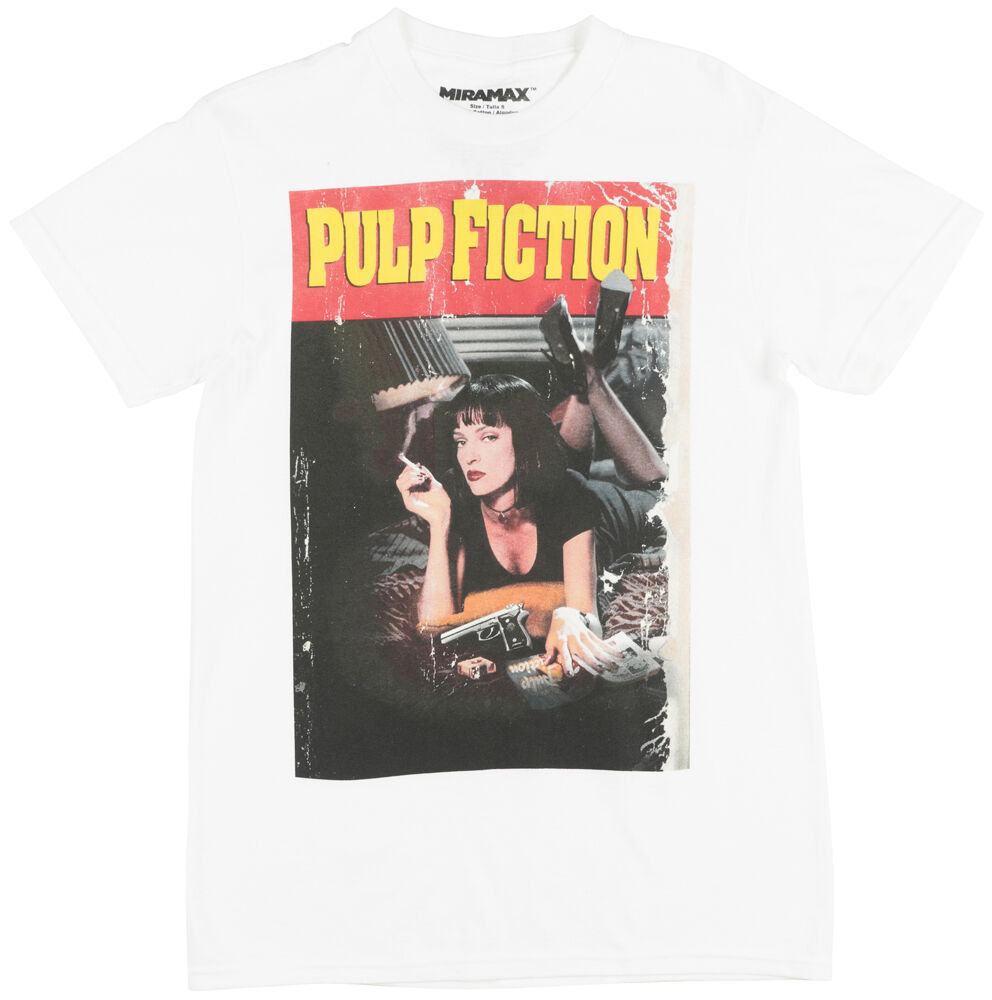 miramax pulp fiction movie poster regular fit t shirt mia wallace tee top white ebay. Black Bedroom Furniture Sets. Home Design Ideas