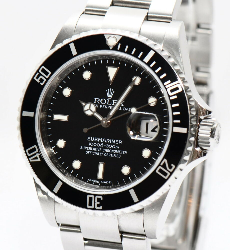 original rolex submariner stahl herren uhr ref 16610 mit. Black Bedroom Furniture Sets. Home Design Ideas
