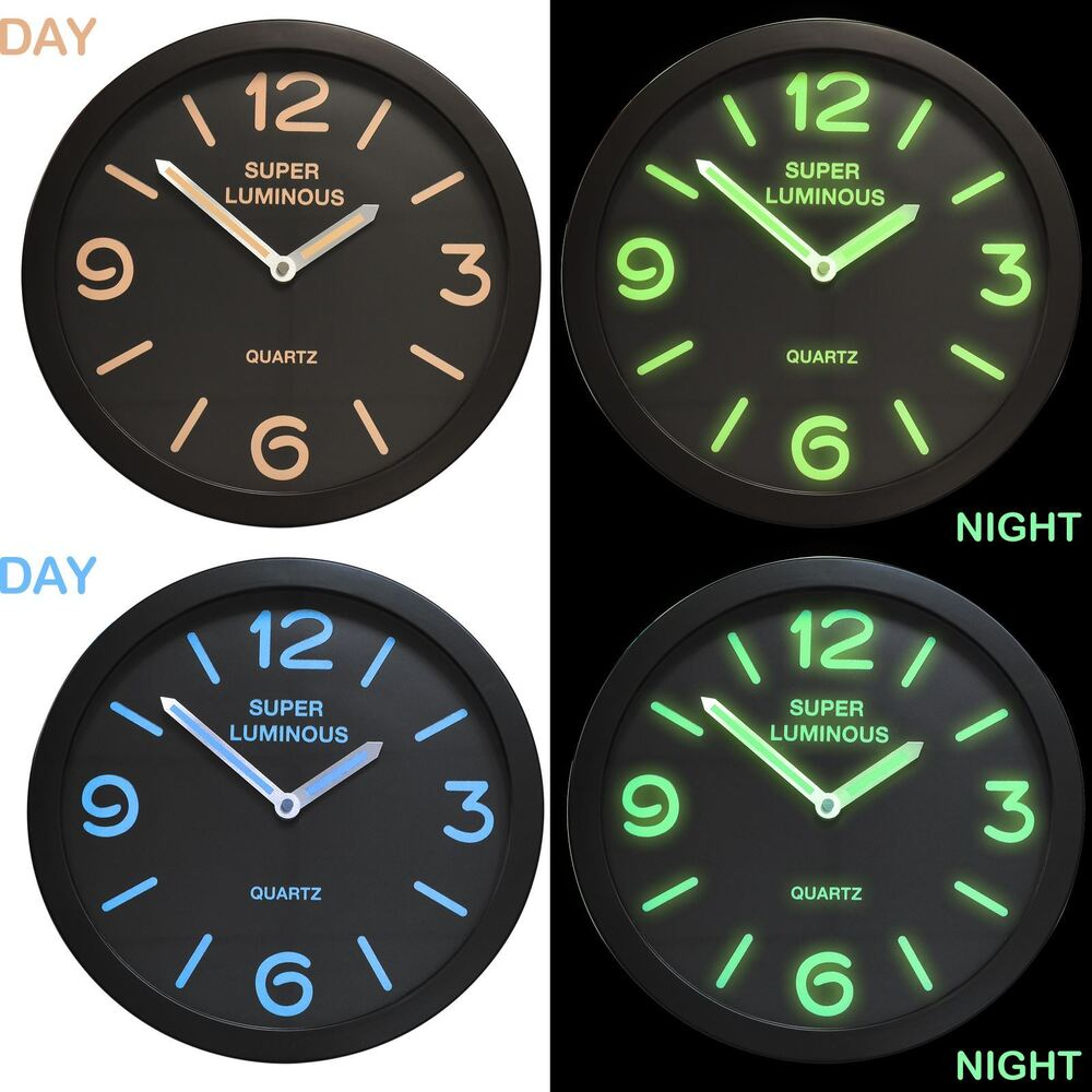 12 glow in the dark wall clock round hanging bedroom home office 12 glow in the dark wall clock round hanging bedroom home office novelty quartz ebay amipublicfo Images