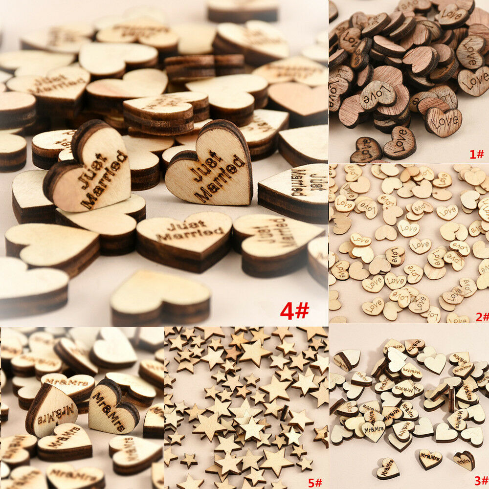 100pcs rustic wooden love heart star wedding table scatter for Wooden hearts for crafts