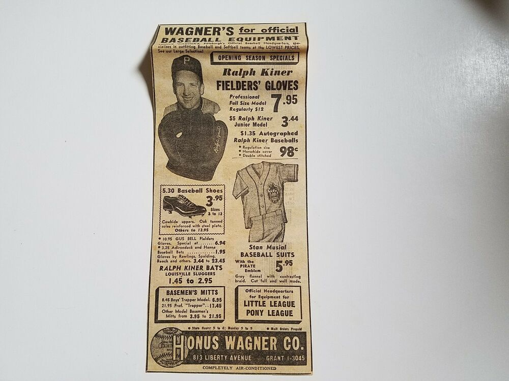 ralph kiner honus wagner company stan musial suits 1952. Black Bedroom Furniture Sets. Home Design Ideas