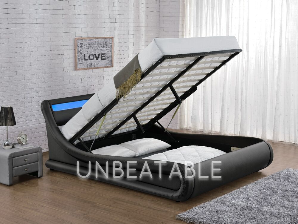 Led Ottoman Faux Leather Double King Size Bed Designer