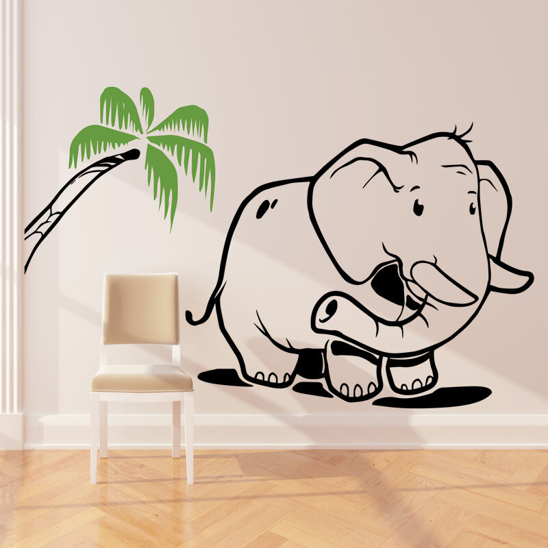 elephant wall sticker art decal jungle forest theme kids bedroom
