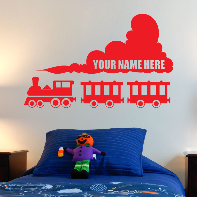 personalised train wall stickers vinyl kids bedroom decals art decor