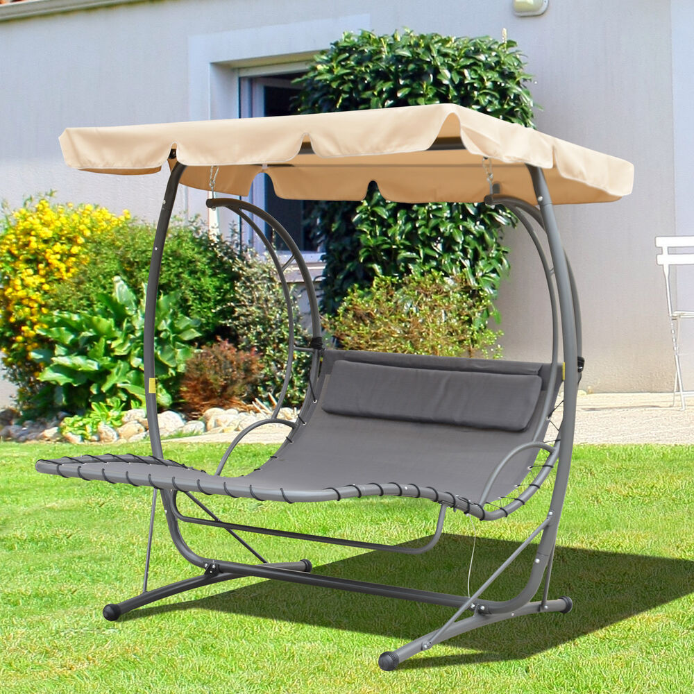 outdoor garden 2 person hammock swing bed metal w canopy shelter beige gray ebay. Black Bedroom Furniture Sets. Home Design Ideas