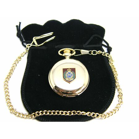 img-THE ROYAL ENGINEER BADGE SAPPER PRIVATE POCKET WATCH & CHAIN ARMY MILITARY GIFT