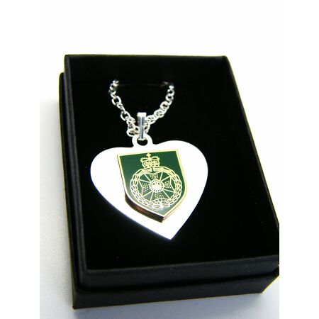 img-THE ROYAL GREEN JACKETS BADGE HEART PENDANT & CHAIN MILITARY GIFT IN BOX