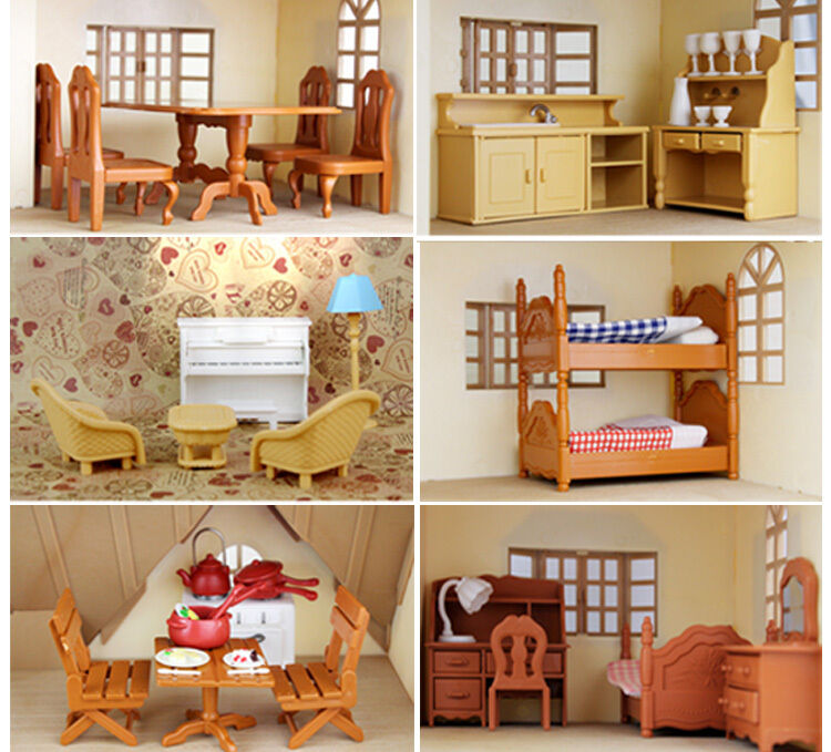 sylvanian families living room kitchen living room bedroom miniature sofa furniture for 17108