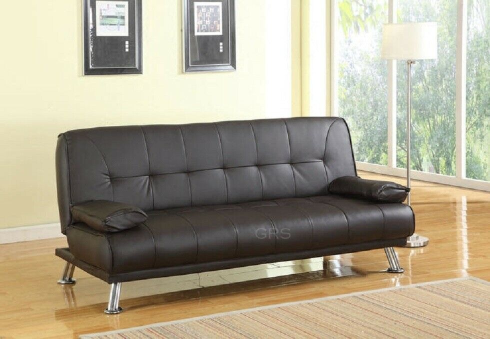 Stunning 3 Seat Designer Sofa Bed Faux Leather Chrome New