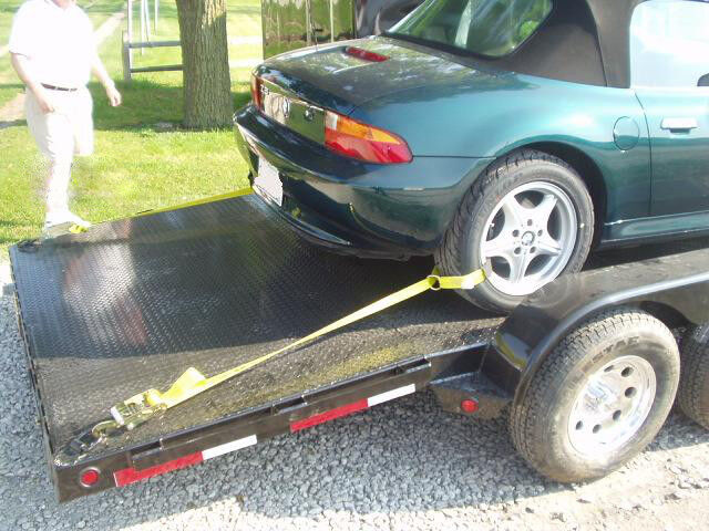 One Car Trailer Tie Down Strap Ratchet Wheel Tire Trailer