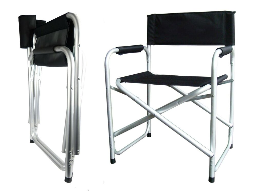 Aluminium Directors Folding Chair With Arms Camping Garden