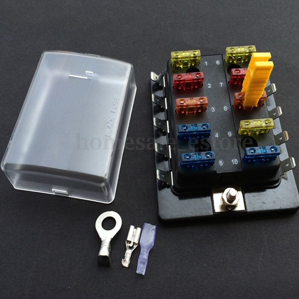 10 way dc12v 24v 32v car van boat marine blade fuse box. Black Bedroom Furniture Sets. Home Design Ideas