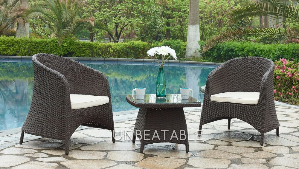 f3e18965a44 Details about Garden Furniture Rattan Set 2 Chair   Glass Table Outdoor  Patio Conservatory Set
