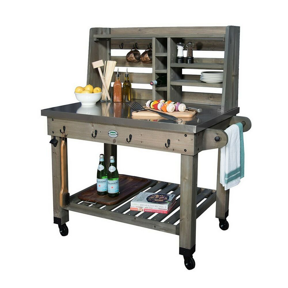 New Rolling Outdoor Kitchen Grill Prep Work Station Mobile