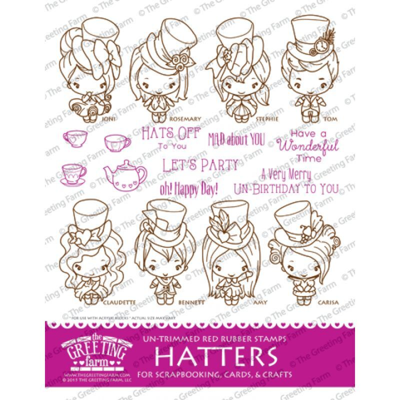 Hatters kit the greeting farm rubber stamp stamping craft wonderland hatters kit the greeting farm rubber stamp stamping craft wonderland bean ebay m4hsunfo