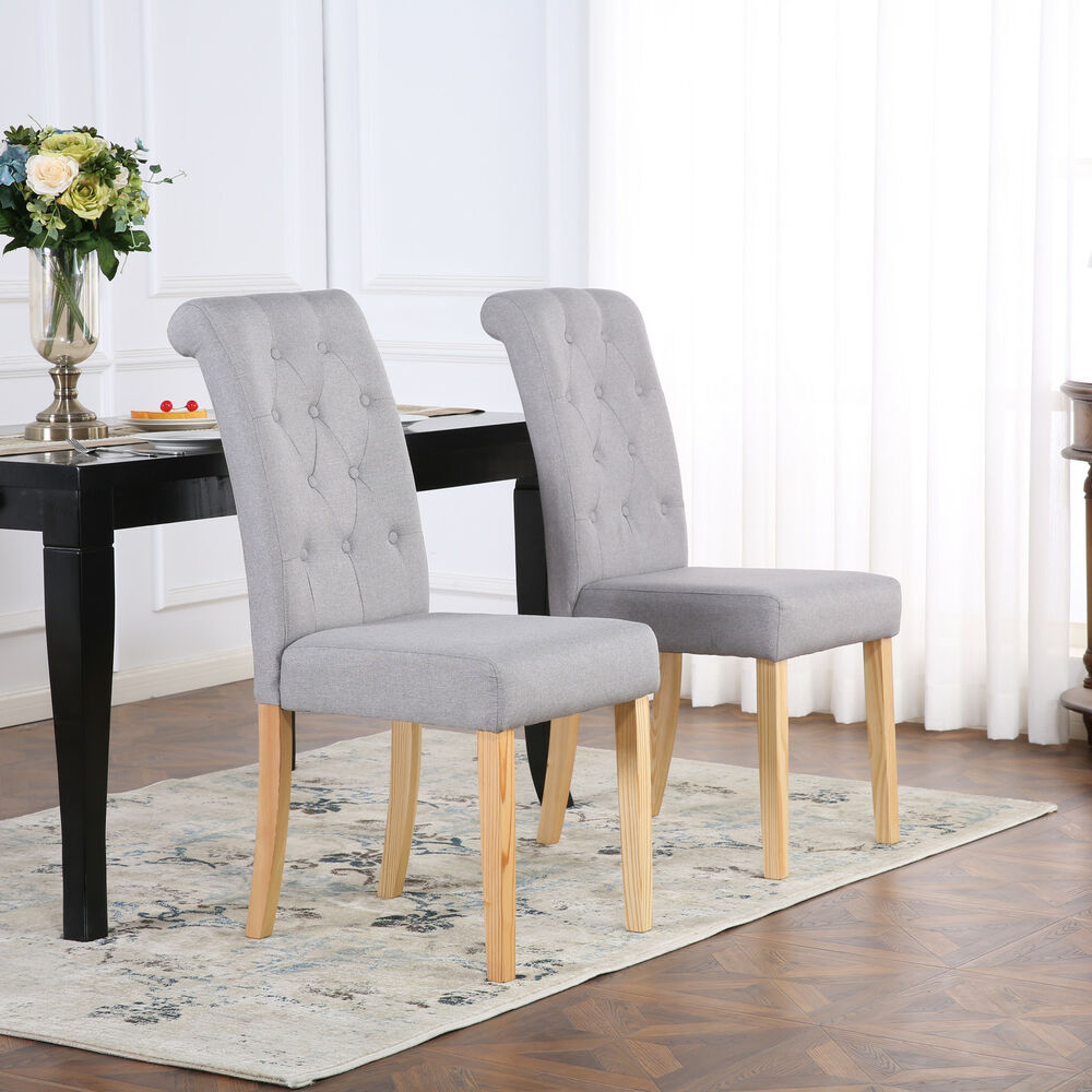 Grey Dining Room Chairs: PREMIUM LINEN FABRIC DINING LIVING ROOM CHAIRS SCROLL HIGH