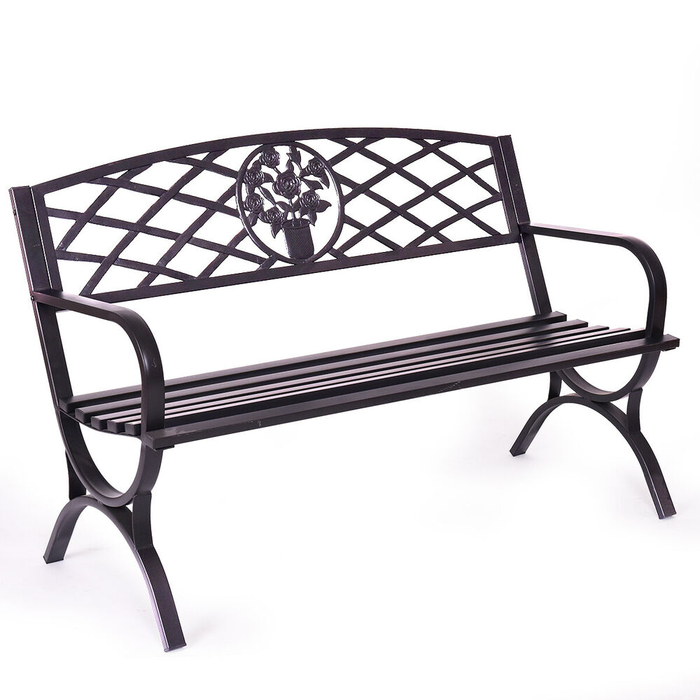 50 Quot Patio Garden Bench Park Yard Outdoor Furniture Steel