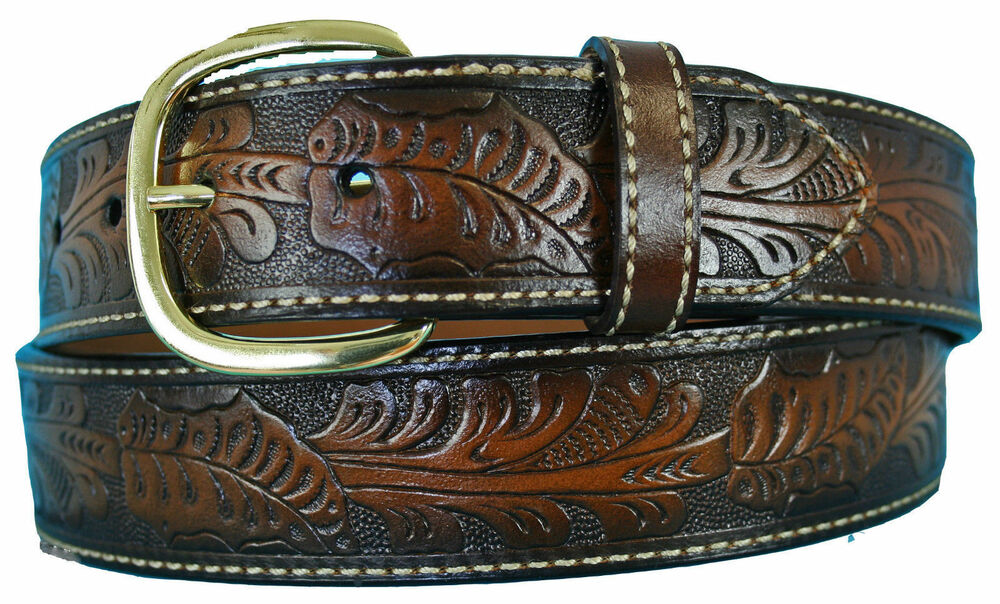 Big & Tall Men's Western Leather Belt BROWN Cowboy Style ...
