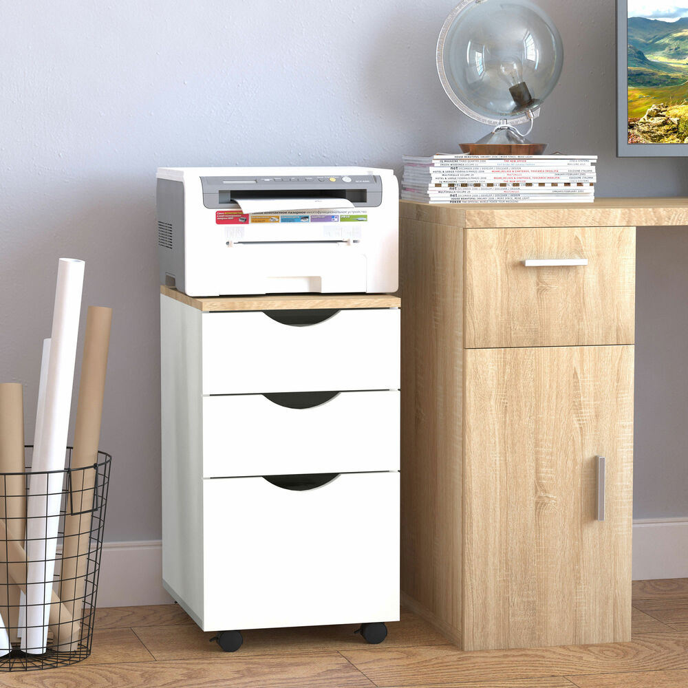 3 Drawer Rolling Filing Cabinet File Storage Organizer