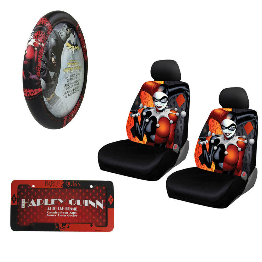 New Harley Quinn Car Truck Seat Covers Steering Wheel Cover License Plate Frame Ebay