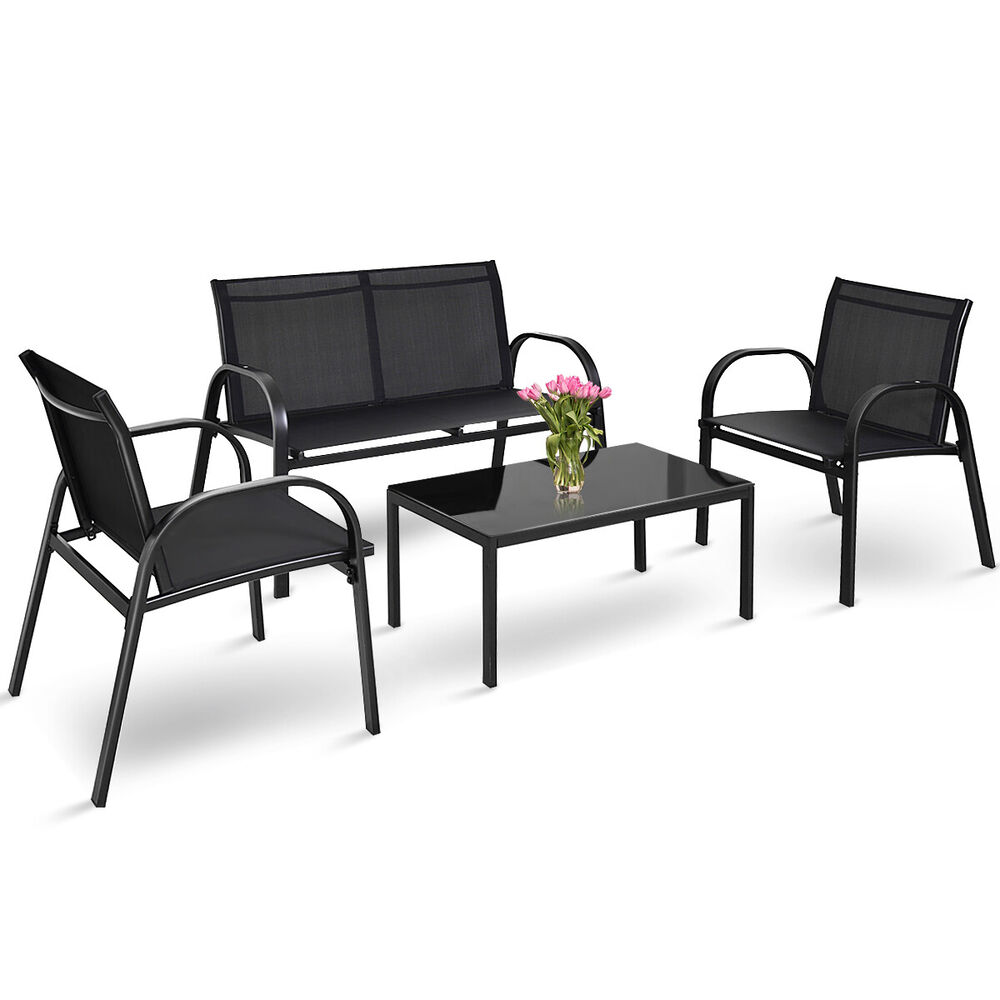 Outdoor Patio Furniture For Small Deck: 4 PCS Patio Furniture Set Sofa Coffee Table Steel Frame