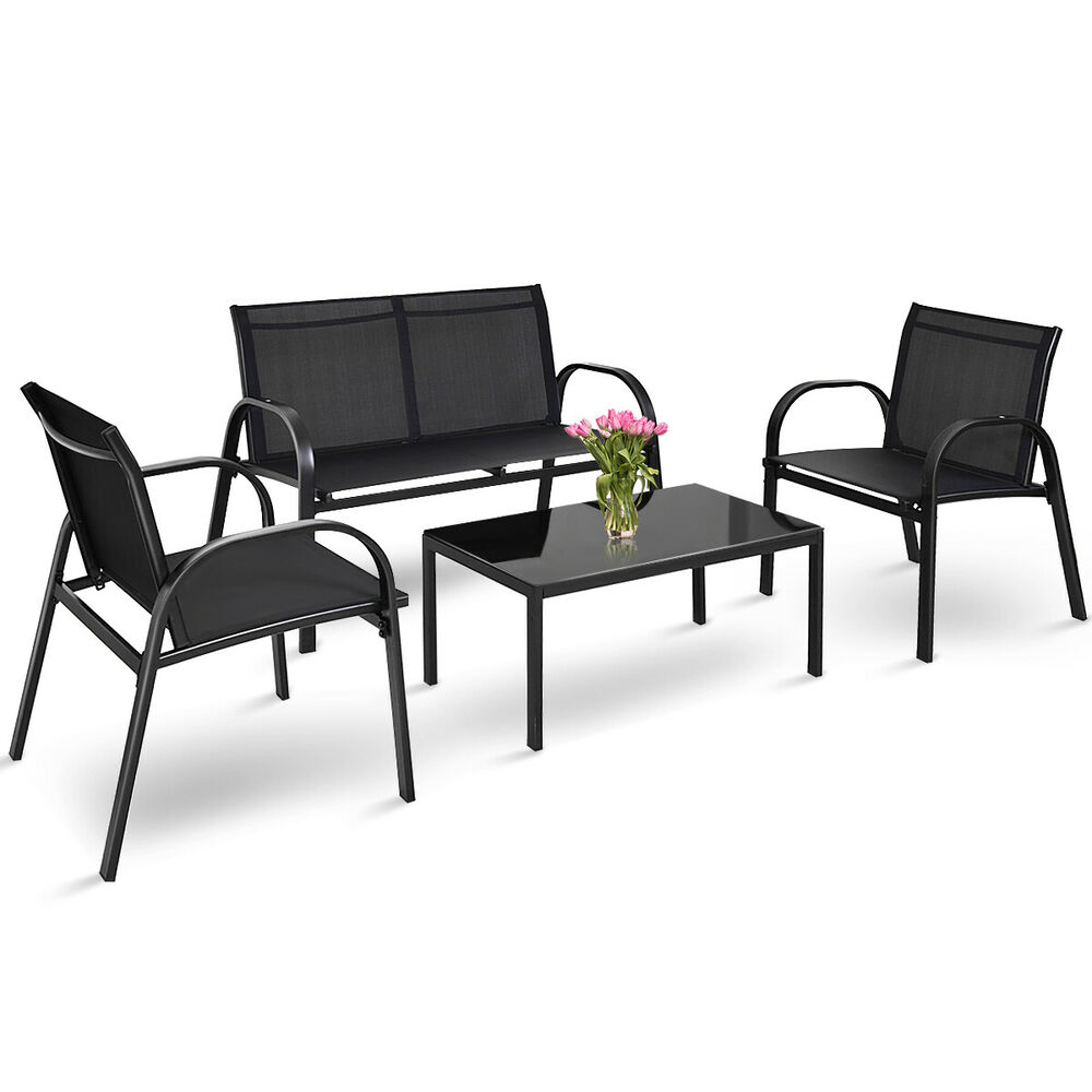 4 pcs patio furniture set sofa coffee table steel frame for Sofa coffee table