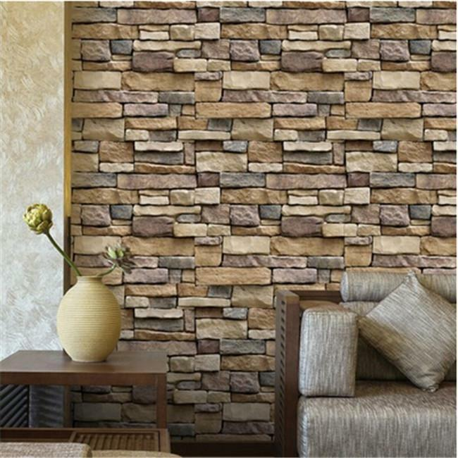 Rustic Brick Wall Decor : D wall paper brick stone rustic effect self adhesive