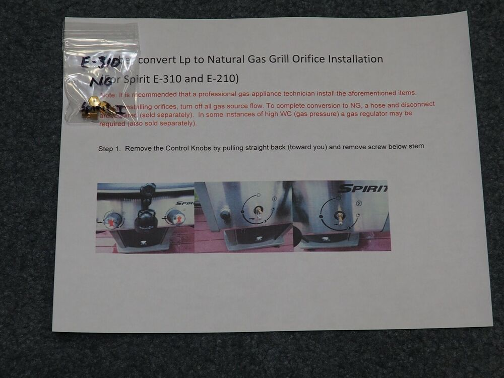 new natural gas orifice conversion kit for weber spirit e 310 w front controls ebay. Black Bedroom Furniture Sets. Home Design Ideas