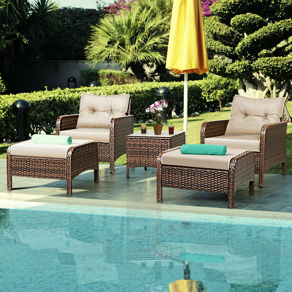 5 pcs rattan wicker furniture set sofa ottoman w cushions for Rattan outdoor furniture
