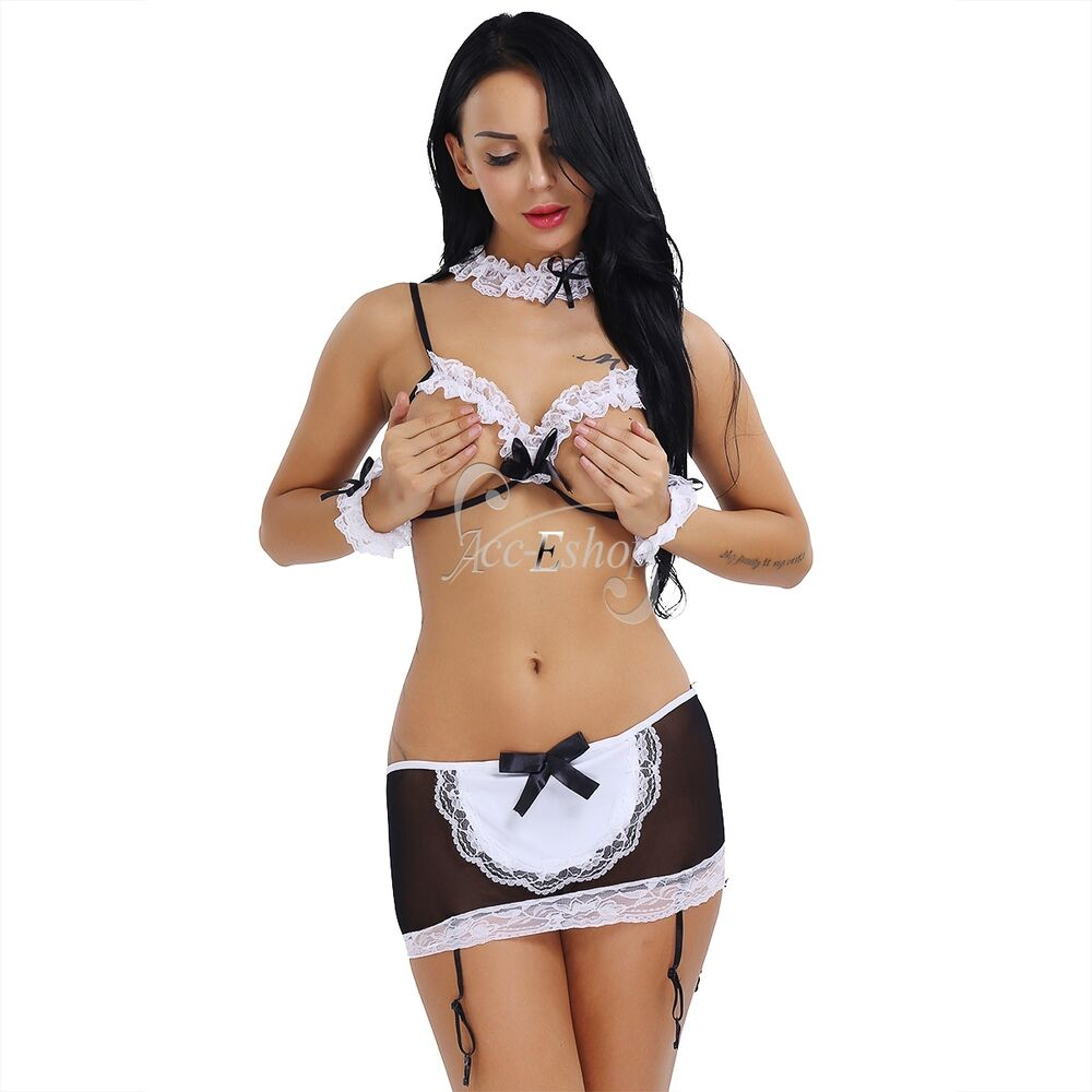 Sexy Womens Open Bra Costumes French Maid Cosplay Fancy -6249