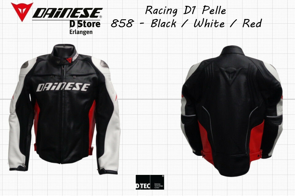 53b891f4864 NEW - DAINESE RACING D1 PELLE MEN LEATHER JACKET - BLACK WHITE RED SIZE -  EU 46 8052644382341