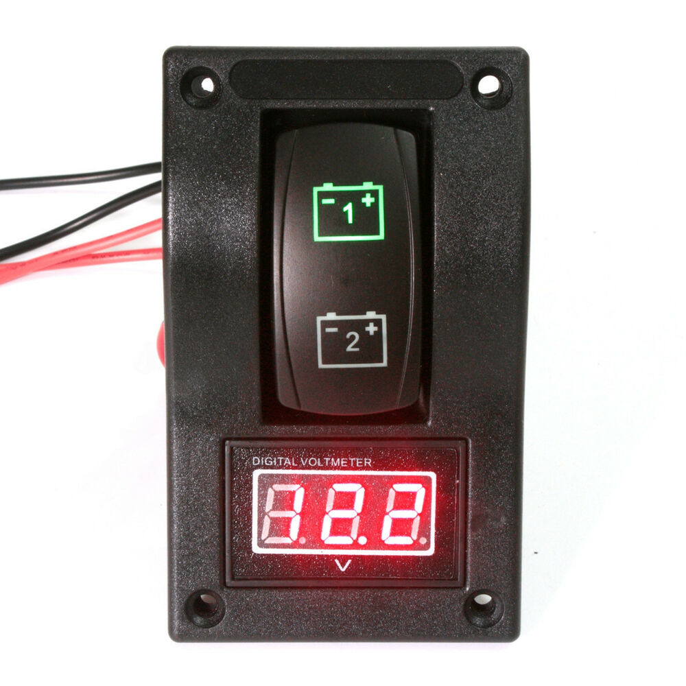 12v rv marine boat voltmeter led dual battery test panel. Black Bedroom Furniture Sets. Home Design Ideas
