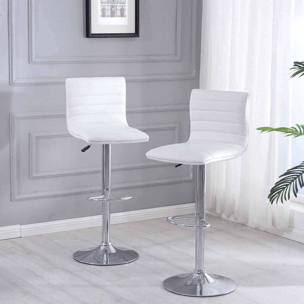 Details about set of 2 bar stools pu leather modern hydraulic swivel set dinning kitchen chair