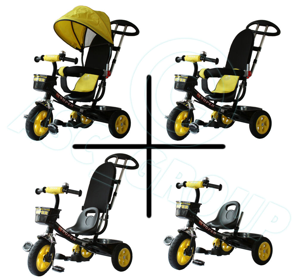 Childs 4 In 1 Trike Black Amp Yellow Push Along Pedal Kids