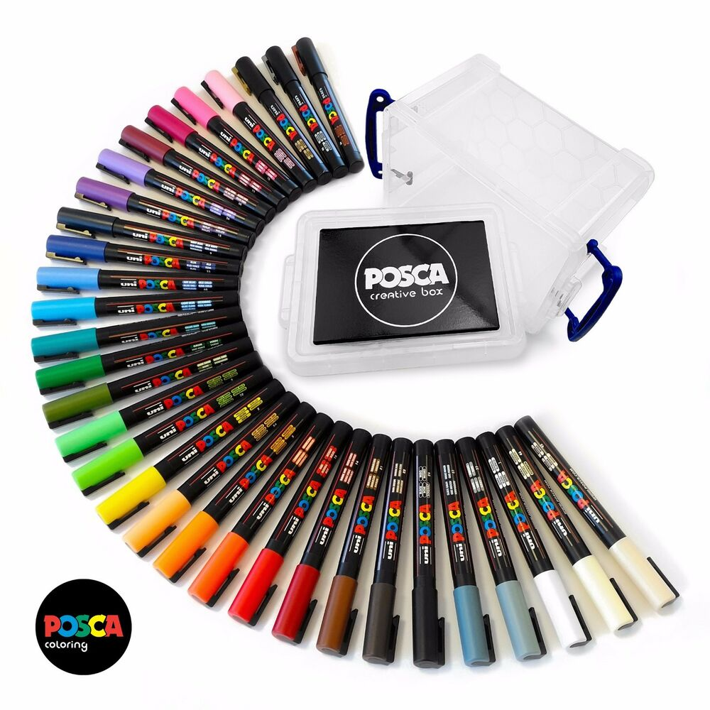 Uni Posca Paint Marker Pens PC-3M - Full Professional Set of 32 in ...