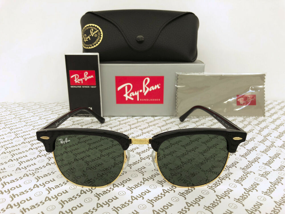 e3ff4e243c Details about Ray-Ban Clubmaster Sunglasses RB3016 W0365 Black Frame G-15  Green Lens 51-21mm
