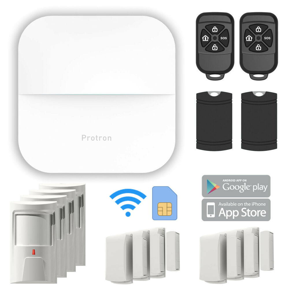 protron w20 smart home gsm gprs wifi alarmanlage komplett set f r ios android ebay. Black Bedroom Furniture Sets. Home Design Ideas