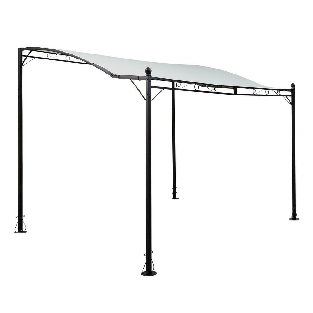 pergola vordach anbau pavillon 300x250 garten terrassen sonnen schutz hellbeige ebay. Black Bedroom Furniture Sets. Home Design Ideas