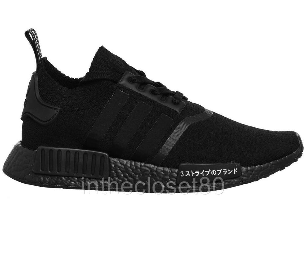 buy online f8ab6 52d59 Adidas NMD R1 Triple Black Japan Boost PrimeKnit PK Mens Trainers BZ0220    eBay