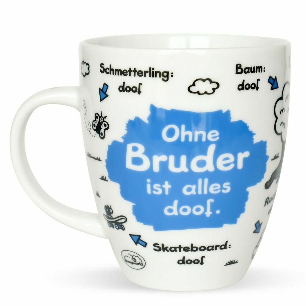 sheepworld tasse ohne bruder ist alles doof 400 ml kaffeetasse kaffeebecher mug ebay. Black Bedroom Furniture Sets. Home Design Ideas