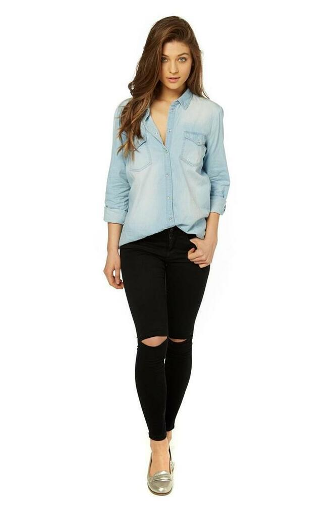 0cac326db8ab Details about BNWT NEW LADIES ONLY ROCK IT LIGHT BLUE DENIM SHIRT SIZE 8  RRP £30.00 ASOS