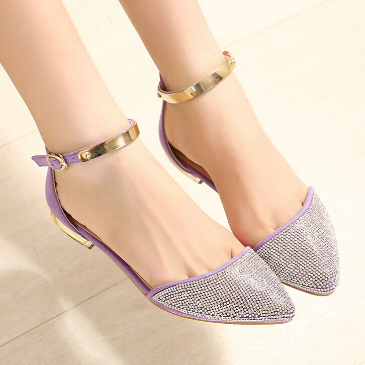 0d176648b354c Details about Rhinestone Womens Trendy Pointed Toe Ankle Strap Flat Pumps  Court Shopping Shoes