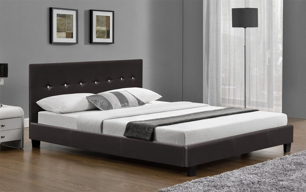 6ft Super King Size Bed Frame Faux Leather Black Or Brown