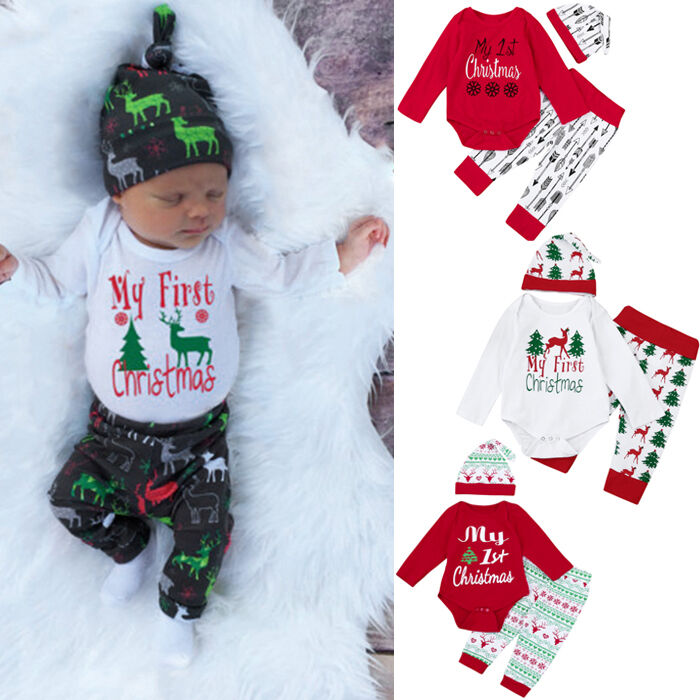 Details about 3PCS Newborn Kids Baby Girl Boy Christmas Outfits Clothes  Romper Tops+Pants+Hat - 3PCS Newborn Kids Baby Girl Boy Christmas Outfits Clothes Romper