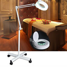 8x Magnification Floor Lamp Stand Magnifier Glass Diopter Facial Spa Adjustable