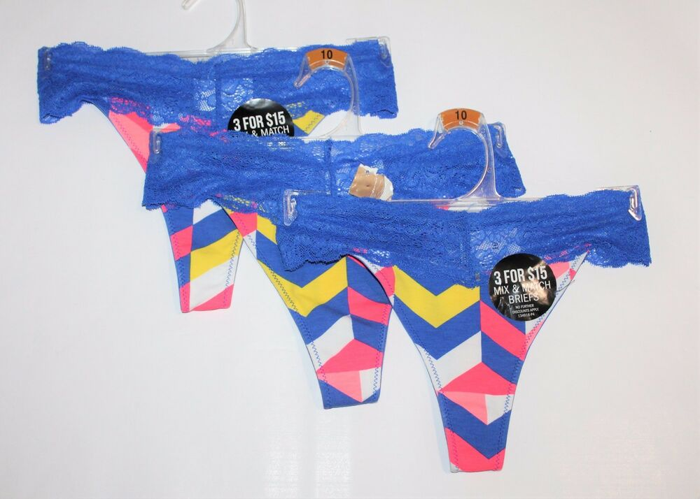 1f2610824f9 Details about TARGET Brand 3 x Funky Blue Lace Thong Size 10 BNWT