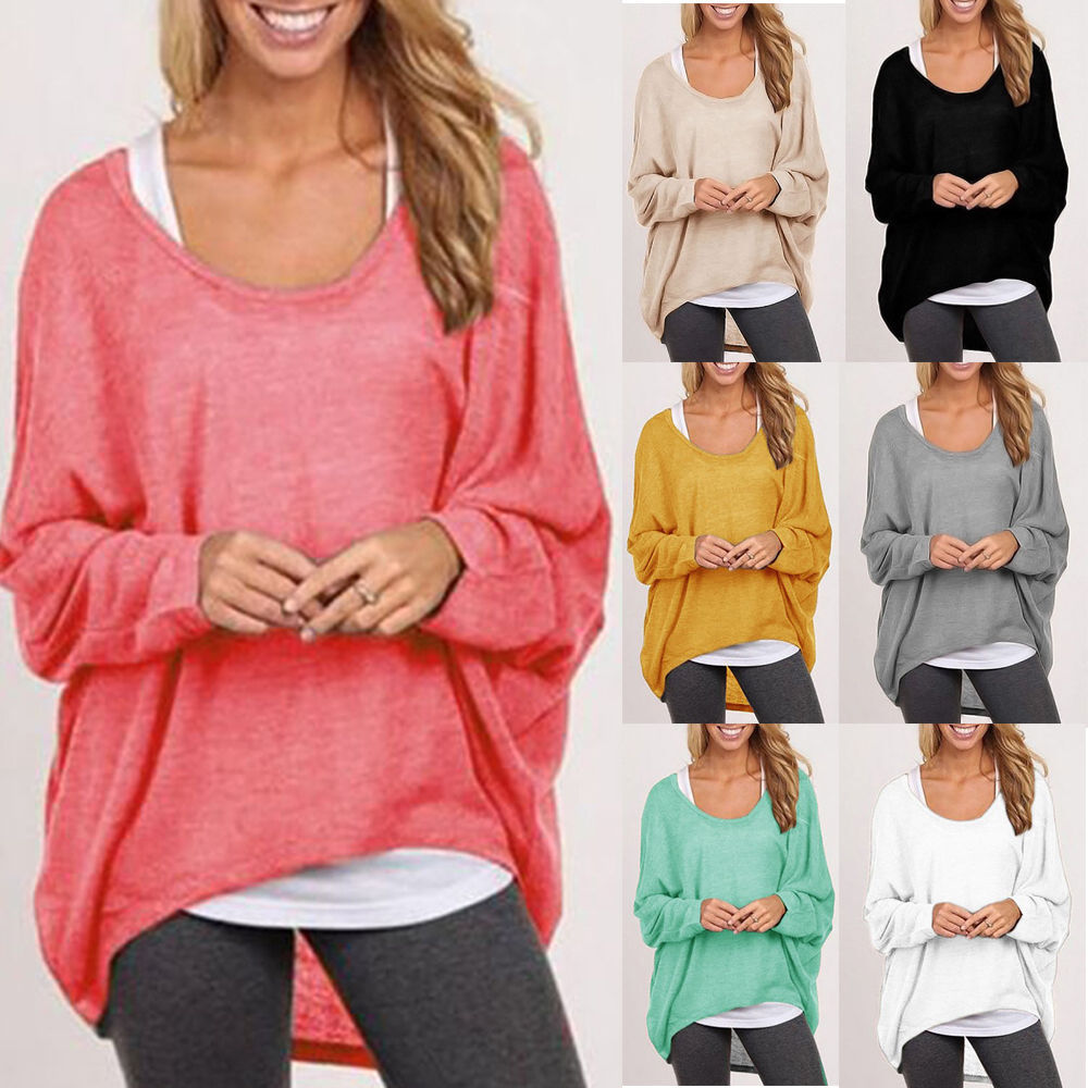 Fashion Womens Long Sleeve Pullover Sweater Oversized Baggy Loose ...