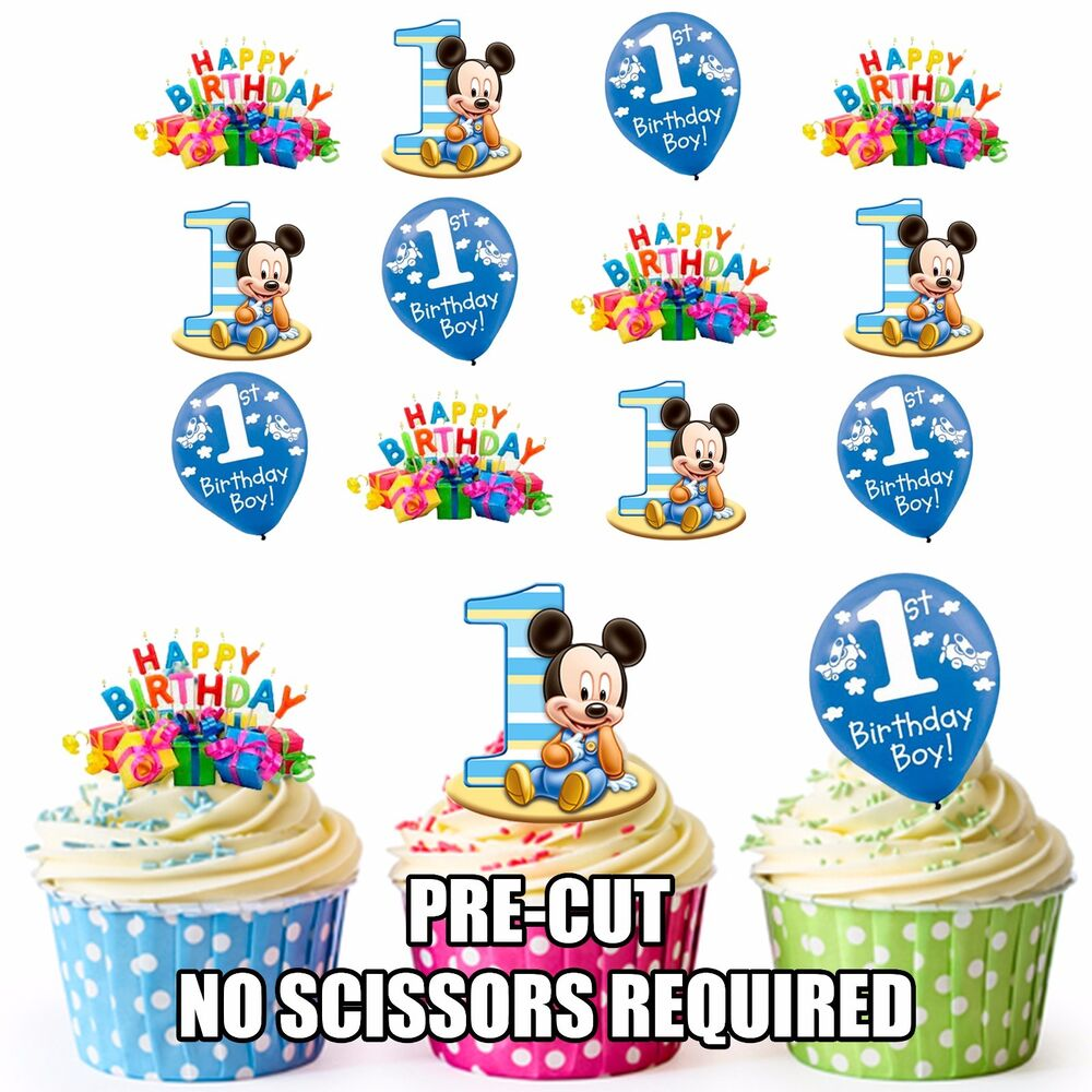Details About PRE CUT 1st Birthday Baby Boy Edible Cupcake Toppers Decorations