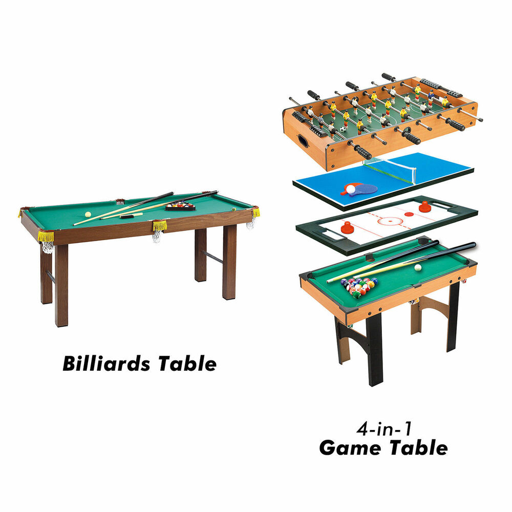4 In 1 Multi Game Table Hockey Foosball Mini Billiards Pool Table Set 2  Types | EBay